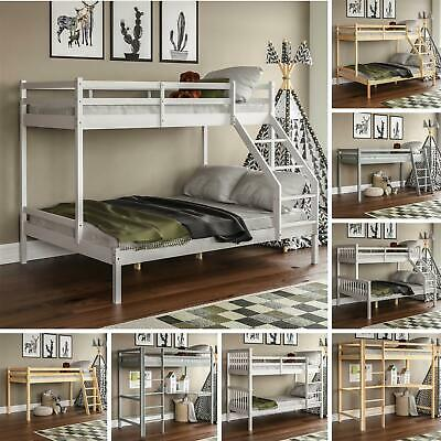 Bunk Bed Triple Sleeper Cabin Loft Bed Solid Pine Wood Kids Frame Ladder Desk • 198.85£