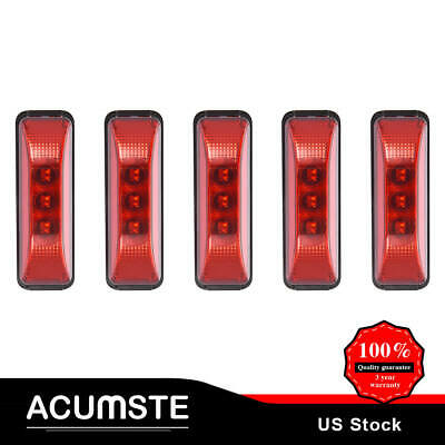5PC 3.9  Trailer RV Boat Side Marker Clearance Light 3LED Sealed Rectangle Amber • 15.23$