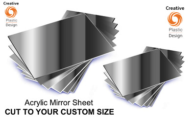 Mirror Acrylic Perspex Sheet Plastic Material Panel Cut To Size Custom Size • 6.65£