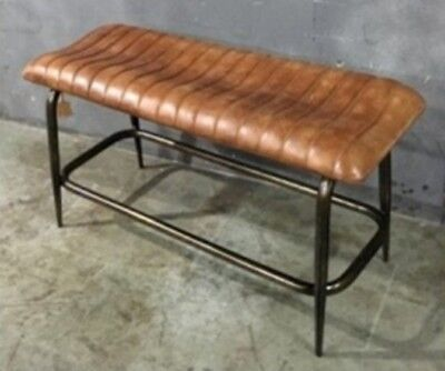 Genuine Leather Bench Seat Vintage Industrial Style • 134.99£