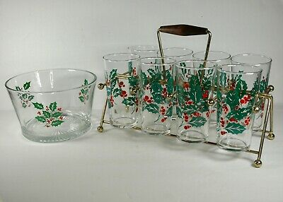$ CDN54.47 • Buy VTG  Indiana Glass  Holly  Christmas Glasses Set Of 8 With Carrier & Ice Bucket