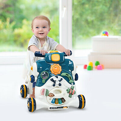 £49.95 • Buy 3-in-1 Baby Walker Kid Toddler Learning First Step Push Ride-On Car Blue W/Music