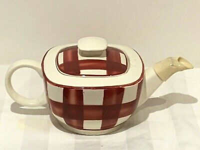 Vintage Mid Century T G Green Red Cornishware Patio Gingham Teapot   • 14.99£