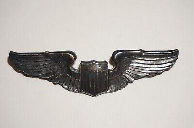 Pilot Wings US Army Air Forces AAF USAAF WWII Sterling Silver Badge M3913 • 44.99$