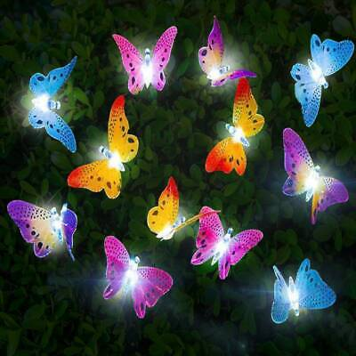 12Pcs LED Solar Powered Butterfly Fiber Optic Fairy String Outdoor Garden Lights • 8.99£