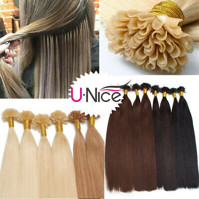 $54.72 • Buy UNice 100S Pre Bonded Nail U Tip Keratin 100% Human Remy Hair Extensions 50G US