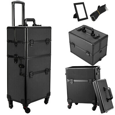 $81.99 • Buy 4 Wheel 3 In 1Professional Makeup Rolling Hair Stylist Case Organizer Trolley