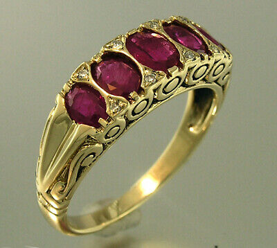 AU691.06 • Buy R507 Genuine 9ct Gold Natural Ruby & Diamond 5-stone Eternity Ring In Yr Size