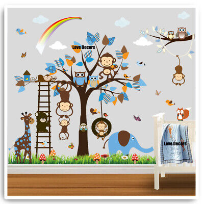 Owl Monkey Wall Stickers Animal Jungle Zoo Nursery Baby Boys Bedroom Decal Art • 10.99£