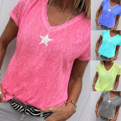 AU11.99 • Buy Plus Size Womens V Neck Short Sleeve Blouse Casual Loose T-shirt Tops Summer Tee
