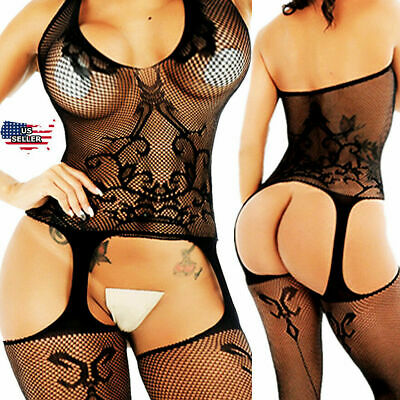 $9.98 • Buy Sexy-Lingerie-Bodystockings-Women-Sleepwear-Babydoll-Lace-Nightwear-Stockings-US