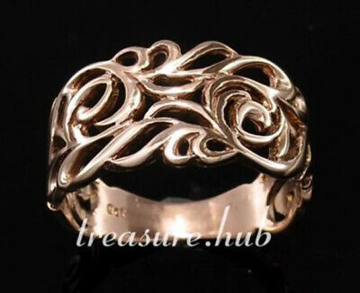 AU357.28 • Buy R003 Genuine 9K Yellow, Rose Or White Gold Filigree Wide Band Ring In Your Size