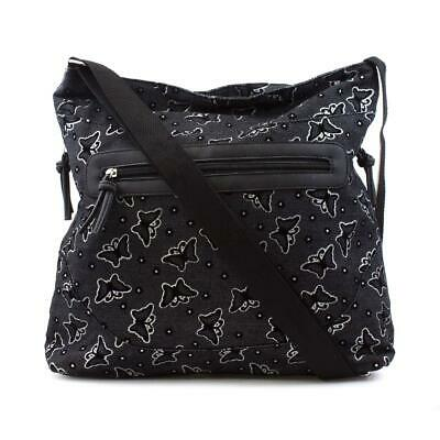 £9.99 • Buy Black Butterfly Printed Cross Body Bag With Silver Glitter Detail