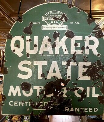 1940's Tombstone Double Side Porcelain Quaker State Motor Oil Sign  • 235$