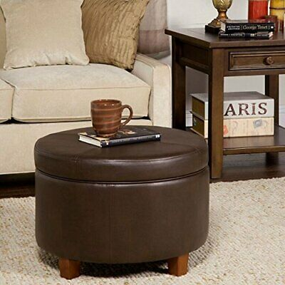 $99.99 • Buy Round Faux Leather Storage Footstool Ottoman Wood Legs Lid Stool Vintage Look
