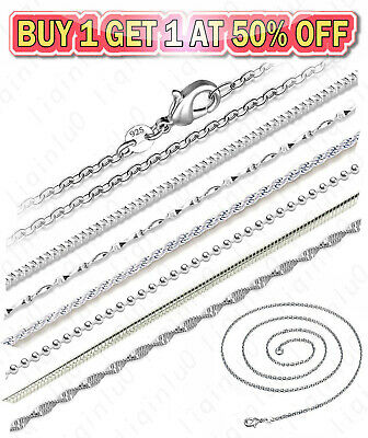 $1.99 • Buy 925 Sterling Silver Diamond Cut Rope Snake Rolo Link Chain Necklace 16-24 Inch