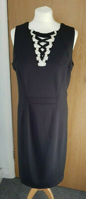 £26 • Buy Star By Julien Macdonald VIP Collection LBD Lace Up Bodycon Wiggle Dress Sz 16