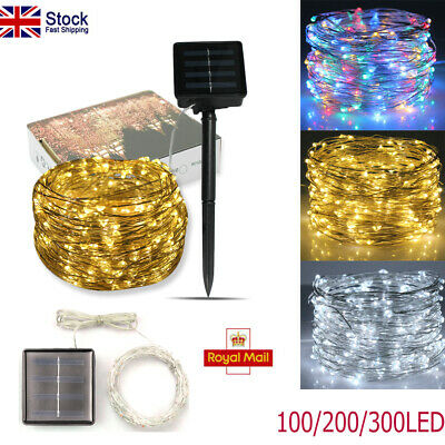 XMAS 300LED Solar Fairy String Lights Waterproof Copper Wire Outdoor Garden Lamp • 9.83£