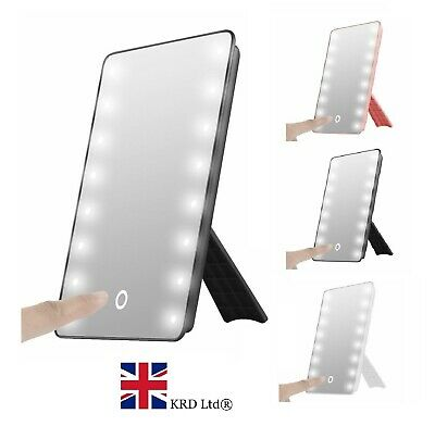 22 LED MAKE-UP VANITY MIRROR Tabletop Light Up Touch Screen Cosmetic Bathroom UK • 12.35£