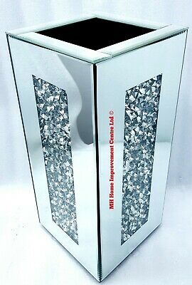Diamond Crush Crystal Square Silver Mirrored Glass Decorative Vase Glitter Bling • 129£
