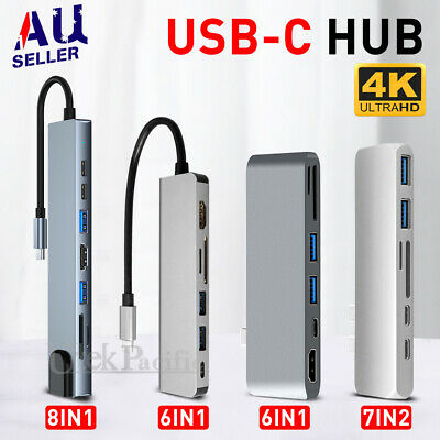 AU42.95 • Buy 6/7/8in 1 USB-C HUB Type-C USB Multi 3.0 4K HDMI RJ45 Ethernet Micro SD TF OTG