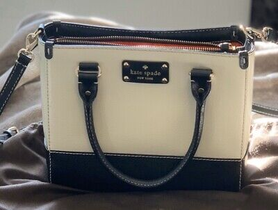 $ CDN250 • Buy KATE SPADE PURSE Crossbody Bag Wallet Black Cream Authentic Two Tone Real