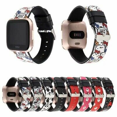 $ CDN16.48 • Buy Minnie Mickey Kitty Cat Genuine Leather Band Strap For Fitbit Versa 2/Lite Watch