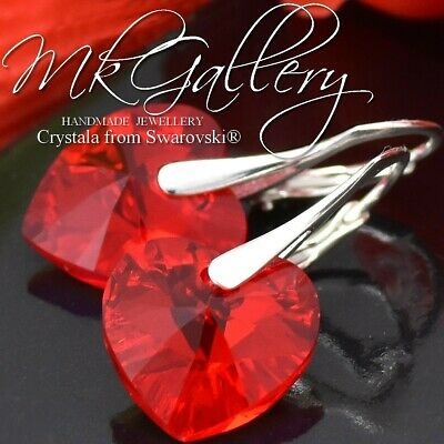 £11.99 • Buy 925 Silver Earrings 14mm Red Heart * Light Siam Ab * Crystals From Swarovski®
