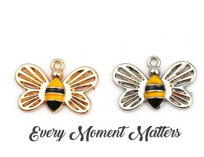 £2.49 • Buy 5 X Silver Or Gold Enamel HONEYBEE BUMBLE BEE 17mm X 11mm Charms