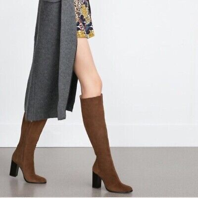 Zara High Heel Tall Leather Boots Brown Suede Brand New Size 11 • 140$