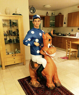 Jockey Fancy Dress Inflatable Costume Adult Blow Up Suit Party Gift Horse Outfit • 42.60£