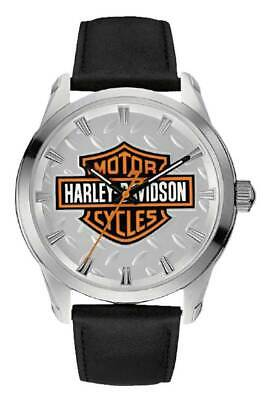 Harley-davidson® Men's Bar & Shield Diamond Plate Stainless Steel Watch 76a145 • 99.99£