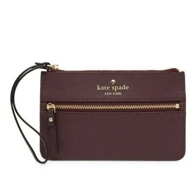 $ CDN52.25 • Buy NWT- Kate Spade- Mikas Pond- Bee- Leather Wristlet Wallet - Soft Aubergine - $78