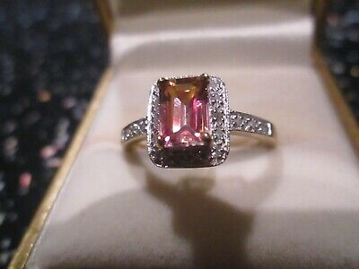 9ct Gold Pre - Owned Unusual Stone And Diamond Ring Q 1/2 • 110£