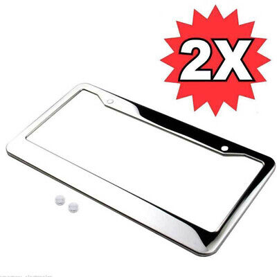$8.99 • Buy 2x Silver Car Chrome Stainless Steel License Plate Frame Tag Cover W/Screw Caps