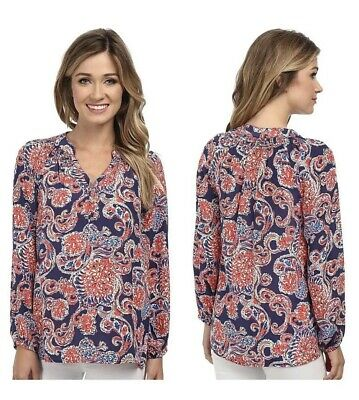 "Lilly Pulitzer Elsa "" For The Halibut "" Silk Tunic Blouse Sz M • 29.99$"
