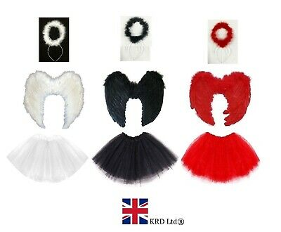 £11.39 • Buy ANGEL TUTU COSTUME Feather Girls Christmas Fancy Dress Nativity Outfit Party UK