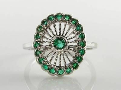Divine 9ct 9k White Gold Colombian Emerald Art Deco Ins Wonder Wheel Ring  • 269£