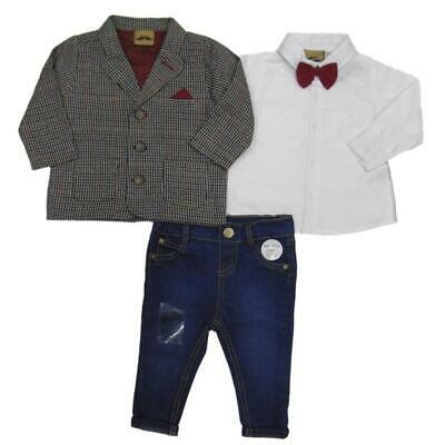 Baby Boys Woven Check Blazer, Shirt With Bow Tie & Stretch Denim Jean Outfit  • 22.99£