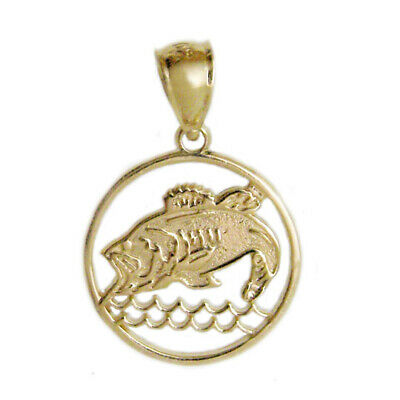New 14k Yellow Gold Bass Fish Charm Pendant • 80.99$