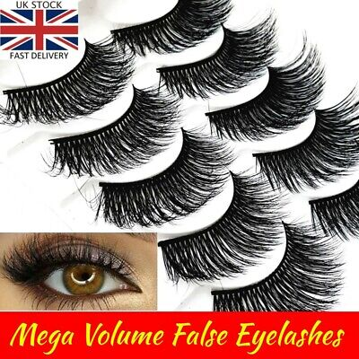 5D Natural🌟Fake Mink Eye Lashes🌟5 Pairs🌟False Long Thick Wispy Mixed  Makeup  • 2.89£