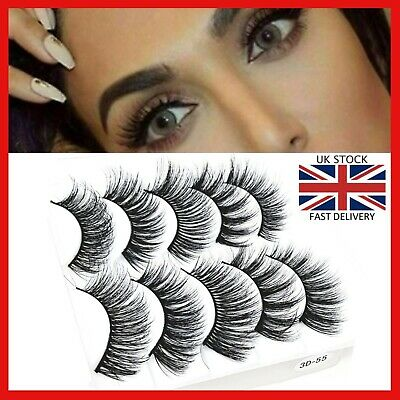 5D Natural🌟Fake Mink Eye Lashes🌟5 Pairs🌟False Long Thick Wispy Mixed  Makeup  • 2.95£