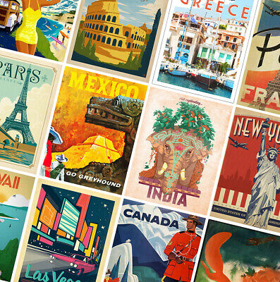 VINTAGE TRAVEL POSTERS - Classic Prints - A4 A3 A2 - Home Wall Art Decor • 3.49£
