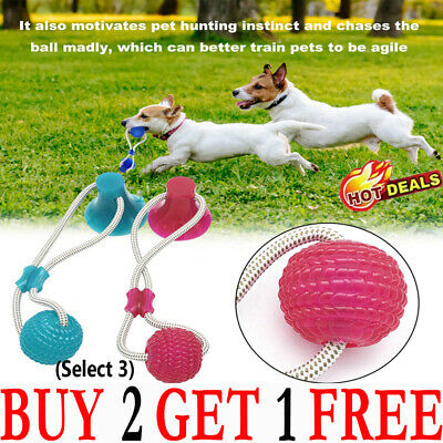 AU5.48 • Buy Pet Rubber Ball Chew Toys With Suction Cup Dog Self-playing Durable Molar Toy TH