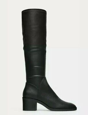 Zara Womens Knee High Heel Stretch Boots Size 5M Eu 35 Black Pull On Ankle Zip  • 20$