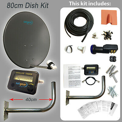 80cm Satellite Dish Kit For Freesat With Quad LNB, Wall Mount And 20m Twin Cable • 85.25£