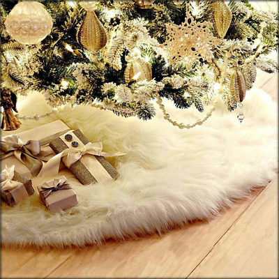 White Christmas Tree Skirt Base Faux Fur Xmas Floor Mat Ornaments Decoration UK • 7.69£