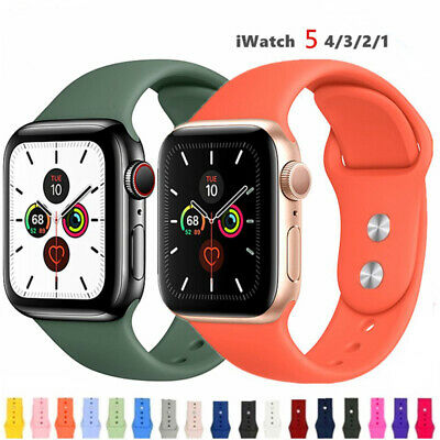 $ CDN4.44 • Buy For Apple Watch Series 5 4 3 2 38 42mm 40 44mm Silicone Sports IWatch Band Strap