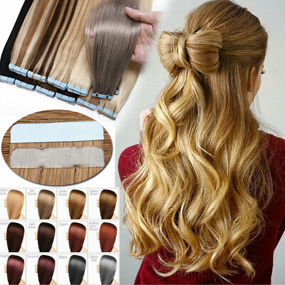 UK CLEARANCE Tape In Russian Remy Human Hair Extension Full Head REAL THICK HAIR • 14.51£