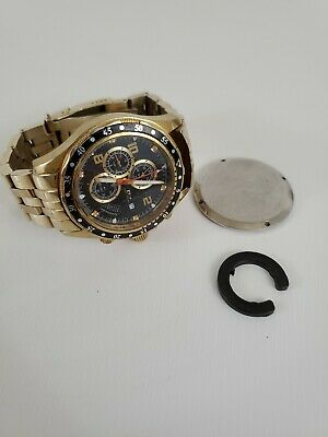 Daniel Steiger Chronograph Watch  - Parts Or Repair Gold Tone Stainless (S1) • 4.99$